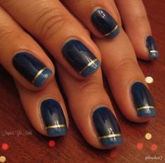 Blue French Tip with Stripping Tape!! Red Carpet Manicure