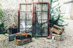 idée plan de table mariage à thème voyage en fenêtres vintage