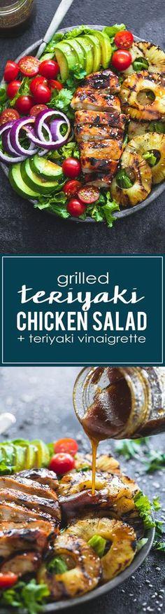(6) Grilled Teriyaki Chicken Salad with Teriyaki Vinaigrette | lecremedelacrumb.com | Easy Healthy Recipes | Pinterest