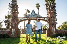 Engagement Session in Santa Cruz funky brick arch