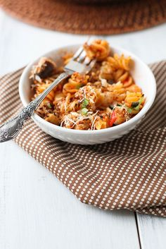 cheesy baked pasta with eggplant and roasted red pepper sauce by annieseats, via Flickr