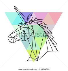 Vector hipster abstract geometric unicorn with triangle colorful background. Origami style