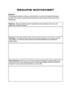 simple printable resume worksheet 1993 resumes pinterest