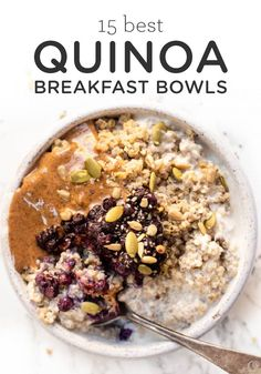 Bye bye oatmeal HELLO Quinoa Breakfast Bowls Sharing our 15 best healthy quinoa breakfast recipes that are vegetarian or vegan and gluten free Sweet or savory there s something for everyone on this list breakfastbowl quinoabowl quinoabreakfast # Breakfast And Brunch, Quinoa Breakfast Bowl, Apple Breakfast, Healthy Breakfast Recipes, Breakfast Ideas, Quinoa Bowl, Healthy Quinoa Recipes, Healthy Breakfasts, Quinoa Oatmeal