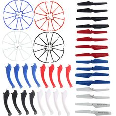 4 Colors Propeller + Landing Gears Skids + Prop Protective Frame Guard Included Mounting Screws Spare Parts Kit for Syma RC Drone Quadcopter Rc Drone, Drone Quadcopter, Gear 4, Landing Gear, Remote Control Toys, Lame, Spare Parts, The Originals, Stuff To Buy