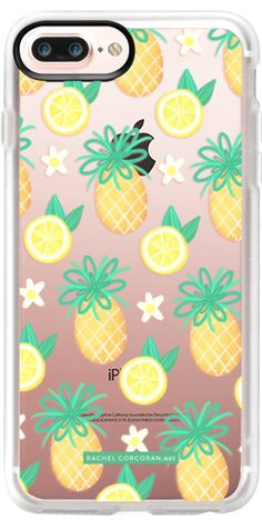 Casetify Protective iPhone 7 Plus Case and iPhone 7 Cases. Other Yellow iPhone Covers - Summer Pineapple Lemonade by Rachel Corcoran | Casetify