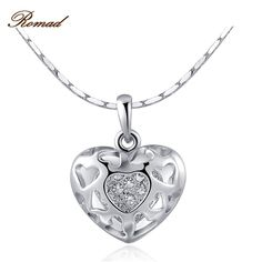 Romad 2017 New Arrival Love Heart Necklace Luxury Silver Color Love Heart Pendant Necklace for Women Wedding Fine Jewelry