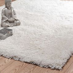 Hoogpolig ecru stoffen POLAIRE tapijt 140 x 200 cm