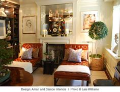 Room of the Day ~ Beautiful milk chocolate tufted chaises against white lacquer walls, art and greenery. Aman & Carson Interiors. 11.19.2013