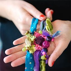 How to make colorful DIY bracelets from fabric scraps - great idea for tween bday party