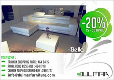 Dulmar Furniture Ltd - Promo sur sofa Bella du 15 au 30 Avril. Tél: 464 0415 / 464 1718