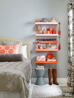 Great small bedroom idea for a nightstand alternative! Use floating shelves and how fun are these, painted different colors?!