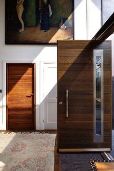 Ultra-contemporary front door design by Urban Front. Black Front Doors, Exterior Front Doors, Front Door Colors, Back Doors, Entrance Doors, House Entrance, Wooden Front Door Design, Wooden Front Doors, Painted Front Doors