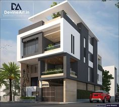 The modern home exterior design is the most popular among new house owners and those who intend to become the owner of a modern house. Bungalow Haus Design, Duplex House Design, House Front Design, Modern House Design, House Map Design, Apartment Design, Apartment Ideas, Facade Design, Exterior Design