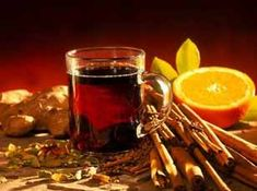hot spiced wine or hot wine punch ... typically in Germany and around, made of hot (not boiling) red wine and oranges, cinnamon, anise etc or a bit more modern is the white wine version with honey and spices.. yumm :)