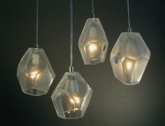 Thaddeus Wolfe: Facet Lamps, 2009  Blown Glass, cut and ground  each approximately 7.5 x 5 x 5 in.