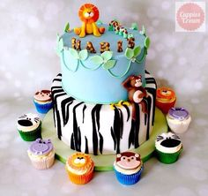 Zoo animal cake from  www.cuppiesncream.co.uk