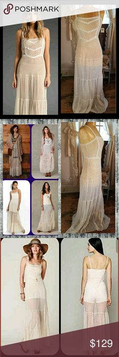 Free People Swiss Dot Mesh Lace Tiered Maxi Dress sheer slip dress by Free People INTIMATELY line exquisite layering piece that is sheer so what goes on underneath is just as important as on top ! also ahhsome to layer chunky layers over this brand new w/tag not sure I want 2 sell but have had for a while w/out wearing so PRICE FIRM PLS NO OFFERS At this time selling for $129 on other platforms even tho msrp $98. JSYK! tysm! Free People Dresses Maxi