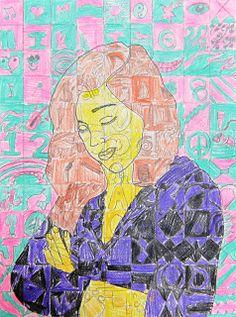 Spot of Color: 6th Grade Chuck Close Inspired Self Portraits