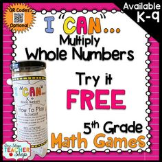 Addition and Subtraction Fourth Grade Math Game FREE Math Test Games, Math Fraction Games, 5th Grade Math Games, Fifth Grade Math, Math Measurement, Math Fractions, Math Activities, Fourth Grade, Maths