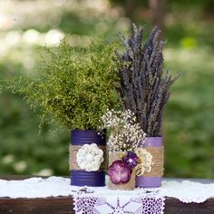 Rustic Wedding Centerpiece, upcycled decorated tin cans, burlap on Etsy, $12.00 or make them for the porch