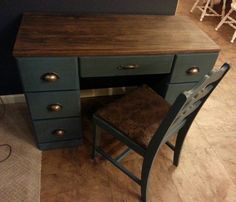 Refinished Wood Dresser Blue Chalk paint with antique glaze, stained top 3s a Charm Wood Decor on Facebook