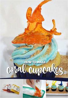 Instructions on how to make realistic coral cupcakes using isomalt sticks that will have your guests talking. Coral Cupcakes, Themed Cupcakes, Island Cake, Island Theme, Decorator Frosting, Cookie Frosting, Icing, Isomalt, Edible Crafts