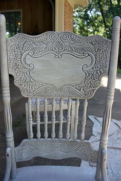 Chair painted with homemade chalk paint and finished with dark wax.