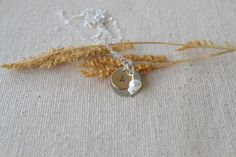 Two Tone Initials Necklace with Pearl Charm by DriftByAllie, $31.00