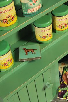 Vintage Spice Tins Displayed on a Mini Painted Dresser: www.vintage-home.co.uk