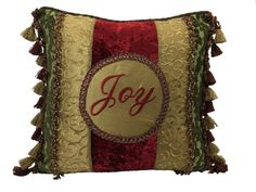 ༻❁༺ ❤️ ༻❁༺ Joy Fringe Christmas Throw Pillow | Reilly-Chance Collection ༻❁༺ ❤️ ༻❁༺ #christmasrecipes