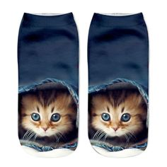 85f6957d77 2018 New Printing Women Socks Brand Sock Fashion Unisex Socks Cat Pattern  Meias Feminina Funny Low Ankle HOT Cat Socks