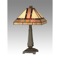 """Dale Tiffany TT10090 Intersection Mission Desk Lamp. Intersection dates to C1910 and is attributed to one of America's greatest Mission architects. The design reflects life's intersections: birth and death, war and peace, wealth and poverty, health and sickness. The shade is 100% art glass both copper foiled and hand-set. Colors are tones of earthy amber with hints of turquoise, green and red. The base is an inverted schoolhouse design finished in Mica Bronze. 17""""T x10""""W. $129 inc. shipping."""