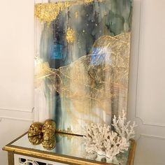 gold leaf large abstract painting art. www.blueberryglitter.com