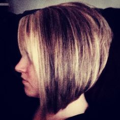 Stacked angled bob. Long front, short back. I'm cutting my hair like this- only not dying it these colors! ONE DAY