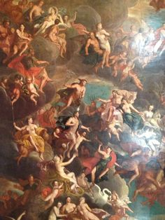 At Pemberley...   The beautiful ceiling of the Painted Hall