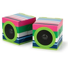 $15 eco speakers made from recycled materials - ship and travel flat