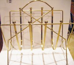 Fabulous Mid Century Modern Brass Magazine Rack or Stand Use For Towels In Bathroom Too! by parkledge on Etsy