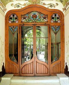 art nouveau door with stained glass