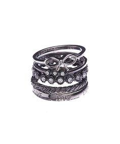 Look at this #zulilyfind! Crystal & Hematite Bow Ring Set by F2|NYC #zulilyfinds