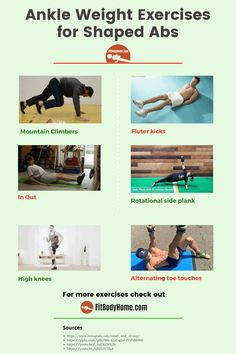 Top 12 Ankle Weight Exercises for Abs - FitBodyHome Major Muscles, Back Muscles, Easy Workouts, At Home Workouts, Dumbbell Ab Workout, Bodyweight Strength Training, V Cut Abs, Top Abs, Ankle Weights