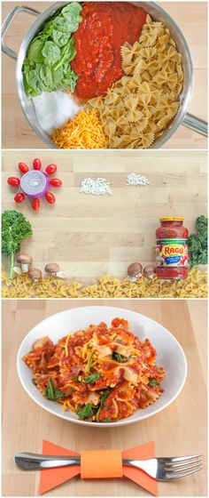 This fun and delicious Easy Cheesy #OnePotPasta recipe by @followcharlotte using @ragusauce will make your weeknights a dream! Ragu Sauce, bow tie pasta and spinach all cook together in the same pot!