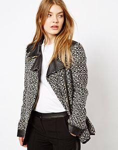 Barneys Originals Tweed Coat With Leather Look Collar