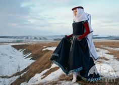 Medieval Fantasy Wool Dress with Red Sleeves.