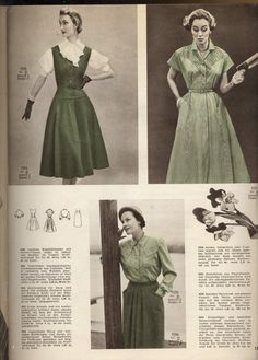 Love them all, especially the jumper dress + blouse on the top left (1956). #vintage #1950s #dresses #fashion