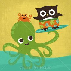 93M Modern Octopus and Surfing Owl 6 x 6 Print by leearthaus, $15.00