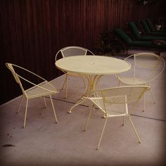 SALE - Mid Century Vintage Hoop Chairs, Dining Table and Lounge Table in Buttery Yellow Powdercoat Finish Six Piece Set Vintage Patio Furniture, Mcm Furniture, Outdoor Furniture Sets, Table And Chairs, Dining Table, Outdoor Chairs, Outdoor Decor, Farrow Ball, Hoop