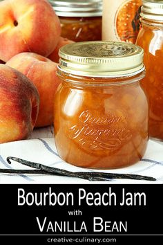 I Think Bourbon Is The Perfect Spirit To Pair With Peaches And This Bourbon Peach Jam With Vanilla Bean Is A Decadent Start To The Day Serve It On Toast Or Ice Cream Or Even Make A Cocktail With It, It's Absolutely Delicious Via Creativculinary Tostadas, Canning Peaches, Preserving Peaches, Preserving Food, Pickled Peaches, Jelly Recipes, Peach Jam Recipes, Recipes With Peaches, Peach Preserves Recipe