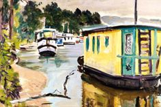 A painting of houseboats on Loch Lomond by the Colourist George Leslie Hunter. Colqohoun plans to re-introduce John Duncan, Building Society, Loch Lomond, Houseboats, Hospice, Landscape Paintings, Artists, Nice, Real Estate Investment Fund