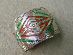 Native American Tommy Singer Turquoise and Coral Bracelet